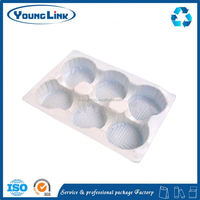 customize waterproof egg tray clear plastic clamshell box mini cake packaging