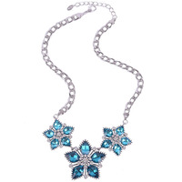 Blue Crystal necklace, wholesale 2016 trendy alloy chain jewellery, luxury crystal flower statement necklace with waterdrop bead