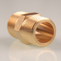 "Brass 1-1/2"" BSPT Thread Male Hex Nipples Connector Pipe Fitting"