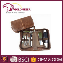 Brown leather manicure set mini manicure set trim manicure set factory supply