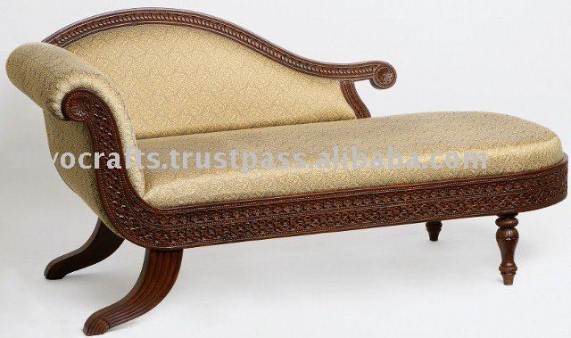 Royal indian rajasthani jodhpur hand carved teak wooden for Carved wooden chaise
