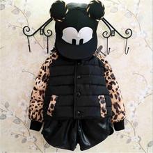 PG010 european boutique clothing warm thicken snow clothes for fashion children leopard short girl coat