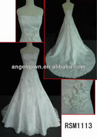 Rich applique lace high end quality real photo custom made wedding dress made to measure dress from china RSM1113