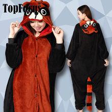 Comercio al por mayor 2014 Nueva Red Panda Fleece pijama Mujeres