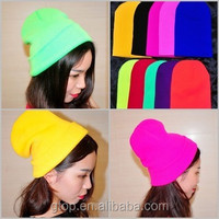 Custom Plain Fluorescent Colors Embroidery Knitted Hat beanie Logo 100% Acrylic