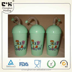 Non-toxic customized 3D lenticular arched lid PP cup with straw