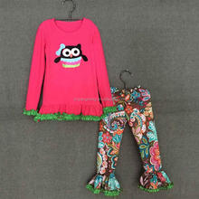 wholesale name brand baby clothes long sleeve owls pattern ruffle outfits for girls made in china clothing