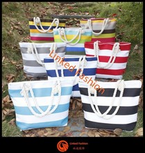 fashion stripe canvas handbags promotional canvas beach bag canvas tote bag with rope handle bolsa de galon saco