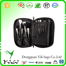 Black Satin Make-Up Bag with Brush Holder and Removable Pouch