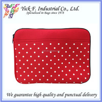 Simple White Dots printed Red Neoprene 10 inch Laptop bag