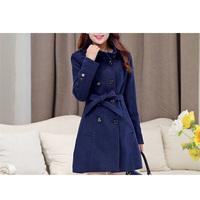 Wholesale latest design 6sizes choice solid woolen material women warm fashion jacket slim coat