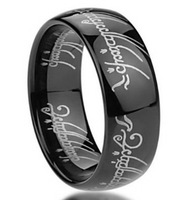 8mm Tungsten Carbide Black Lord of the Rings Laser Pattern All Size Half Size Available
