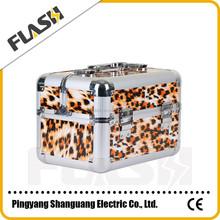 Leopard Print Middle Size Beauty Kit Box Aluminium Empty Cosmetic Case