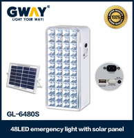 portable 48led solar emergency light,USB output,with solar panel