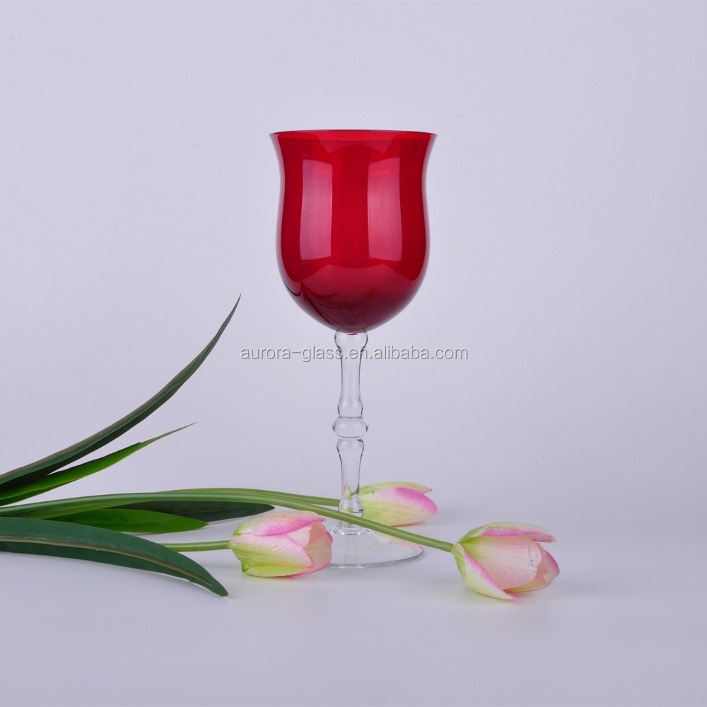 Mouth Blow Drinking Glassware Red Thick Stem Wine Glass