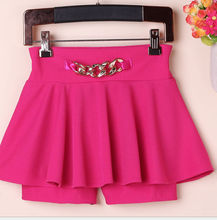 D21156Q 2014 NEW DESIGNS PURE COLOR PLEATED SHORT SKIRTS FOR WOMEN