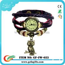 wholesale alibaba 2015 fashion unisex japan movement quartz woven leather watch classic bronze case leather retro watch