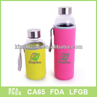 Acceptable Fabric cloth sleeve glass water bottle