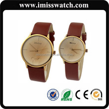Japan Quartz Movt and Genuine Leather Strap Simple Design Couple Watches