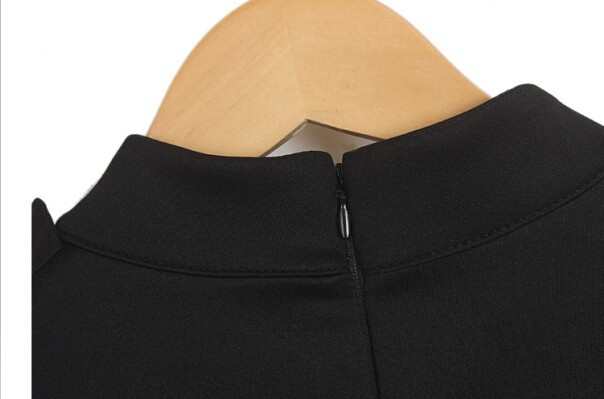 Осенние Виктория стенд воротник локтя тонкий цельный платье z132
