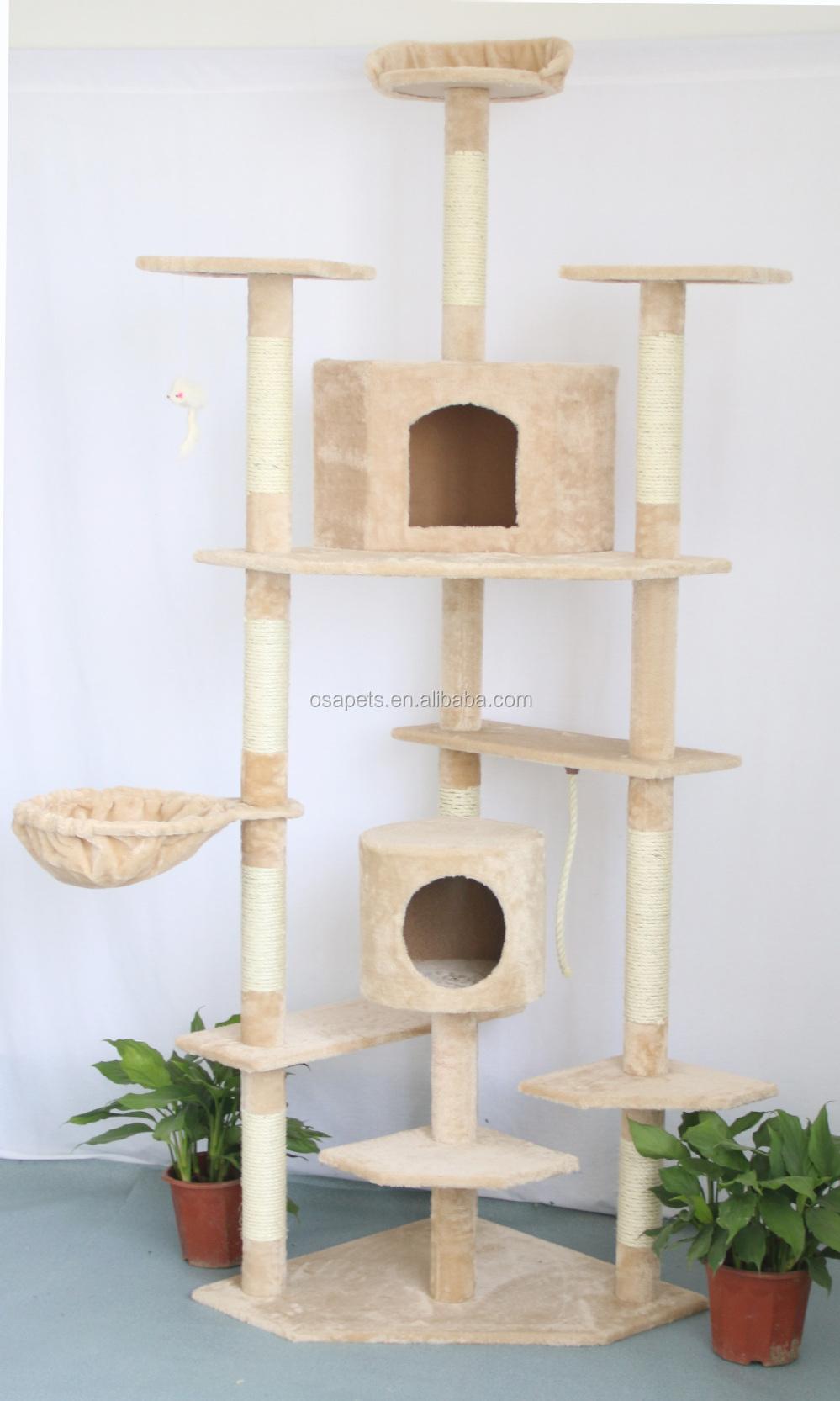 Chat arbre chat maison naturel sisal corde jouets pour for Arbre maison jouet