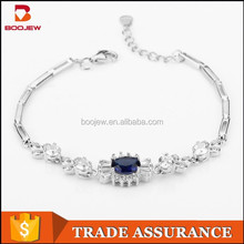 Factory selling latest products beautiful design fashional artificial jewellery silver bracelet chains with blue gem for women