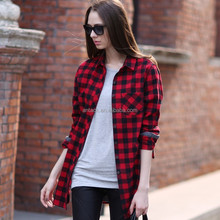 HJC-Q8297 Veri Gude Wholesale 2015 spring new blouse European women's long sleeve plaid loose shirts