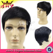 2014 new style short human hair wigs for men price