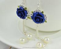 rose flower earring national style freshwater pearl earring anti allergy zinc alloy