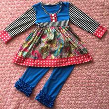New design cheap wholesale children boutique clothing organic cotton ruffle clothing set kids outfits