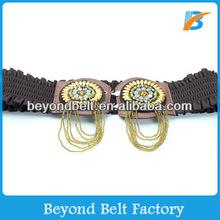 Ladies' Fabric Textured Elastic Stretch Dress Belt with Bead Decoration