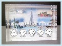 2015 NEW High Quality Acrylic Home Decor Table Clock World Times Table Clock