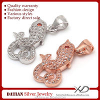 XD P797 love dolphin charms micro pave 925 silver cz pendant