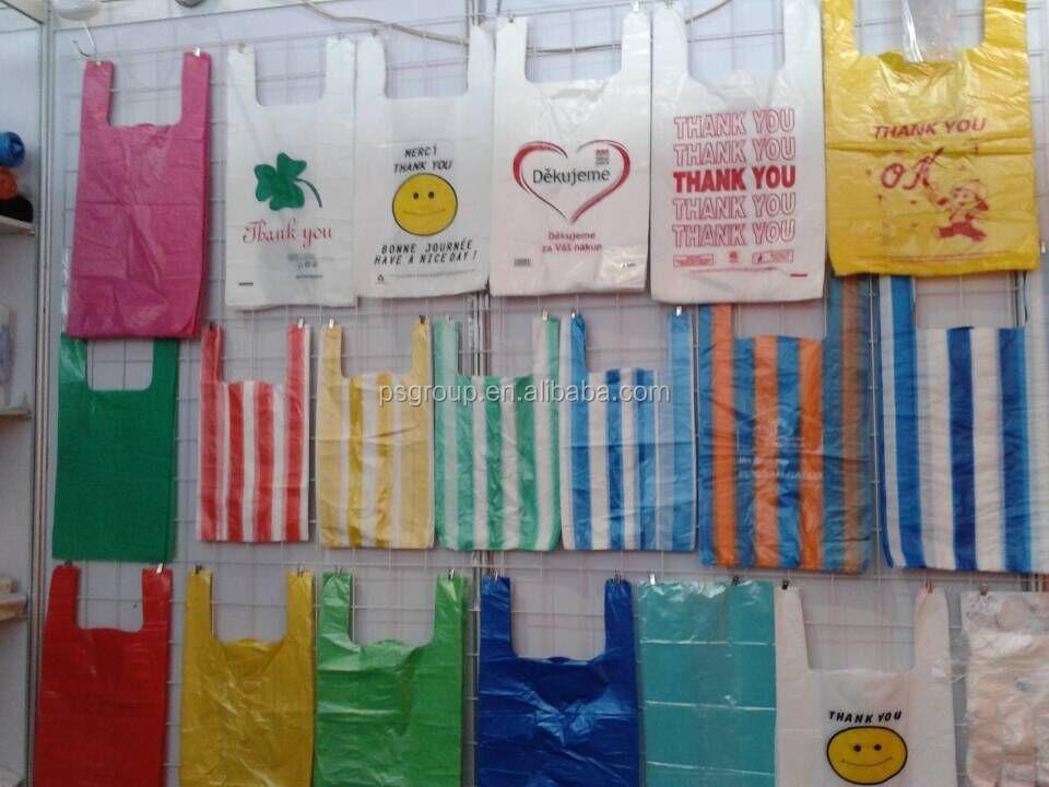 Colored plastic t shirt shopping bags custom printed for Custom plastic t shirt bags