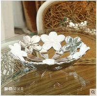 Chinese ceramic flower pattern decorative brass tray for fruit
