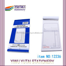 Customized copy receipt book in carbonless paper