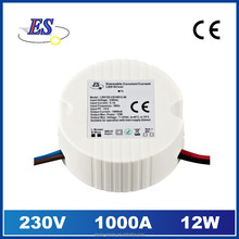 12W 1000mA AC-DC Constant Current LED Driver with Triac Dimmer ,1A dimmable led driver