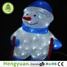Acrylic Skiing Snowman Christmas Decoration Light