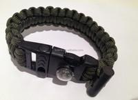 Lifesaving whistle Bracelet cord Survival parachute flint with compass