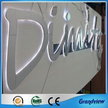 mirror polish led backlit metal word signage