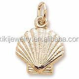 elegant stylish design golden plated beautiful realistic shell charm wholesale in alibaba