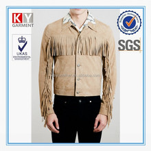 2015 fashion show fringe suede leather jackets for men