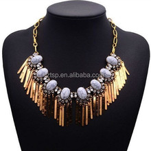 Agate Crystal Metal Bar Tassel Statement Choker Gold Chain Necklace