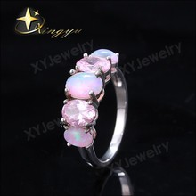 Rings jewelry designs, silver ring pink opal ring for women XYR300413