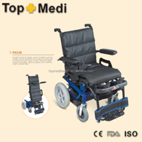 Topmedi steel stand up power wheelchair with lift up seat
