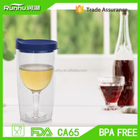 High Quality Hot Double Wall Plastic Red Wine Glass With Lid RH147-250
