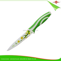 ZY-B3009C4 5-inch fine quality non-stick flower printing utility knife with PP&TPR handle