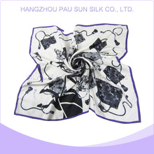 Promotional factory price high qualityplain white scarf silk