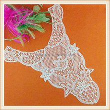 2015 Fantastic white embroidery design India polyester collar lace for garment/ suit/girls dress/dress decoration