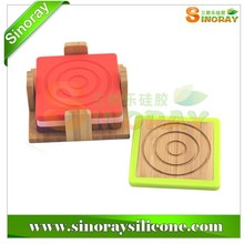 Square Silicone & Bamboo Coaster